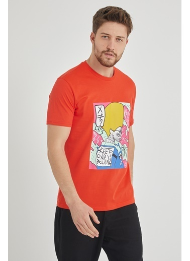 XHAN Kırmızı Baskılı T-Shirt 1Kxe1-44651-04 Kırmızı
